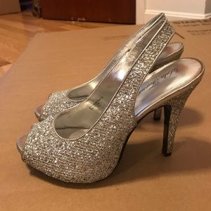 Silver sparkling high heels